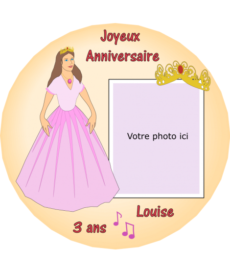 photo sur gâteau princesse