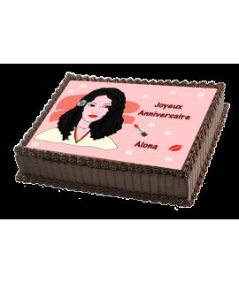 gâteau décorée femme brune